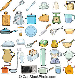 kitchen objects - set of hand drawn, vector illustration of...