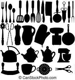 Isolated silhouettes of Kitchen related objects