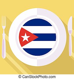 kitchen of Cuba - plate in flat style with flag of Cuba