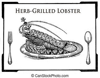 Kitchen of the past,food collage, herb-grilled lobster plate
