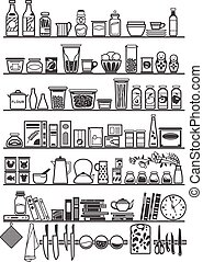 kitchen or pantry shelves with goods, vector illustration