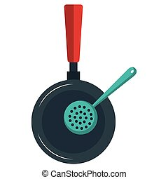 kitchen pan with spoon icon