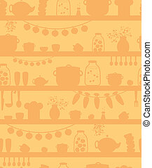 Kitchen pantry shelves seamless pattern background - Vector...