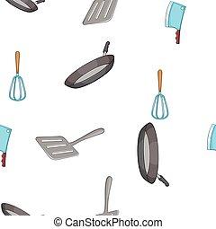 Kitchen pattern, cartoon style