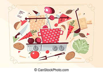 Kitchen pattern with food and kitchenware
