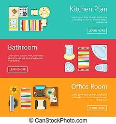 Kitchen Plan and Bathroom Vector Illustration