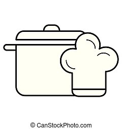 kitchen pot with hat chef