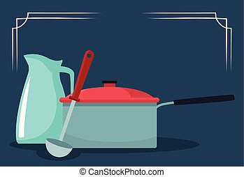 kitchen pot with jug and spoon, colorful design