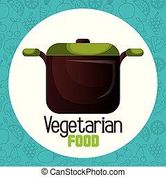 kitchen pot with vegetarian food