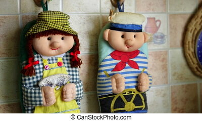 Kitchen potholders like dolls