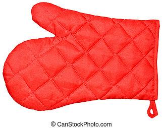 Kitchen red mitten - Red kitchen glove isolated on white...
