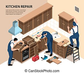 Kitchen Repair Isometric Composition