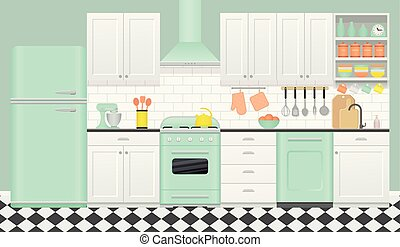Kitchen retro interior. Vector illustration in flat design.