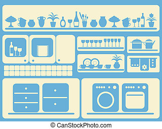 Kitchen room and home objects set.