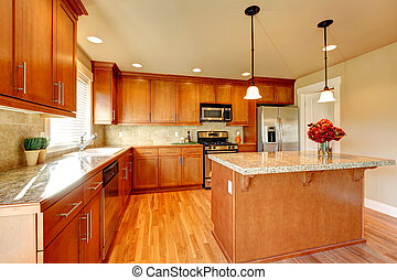 Kitchen room design - Bright kitchen with hardwood floor,...