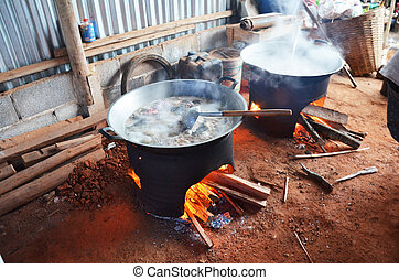 Kitchen room in House of Hmong or Mong