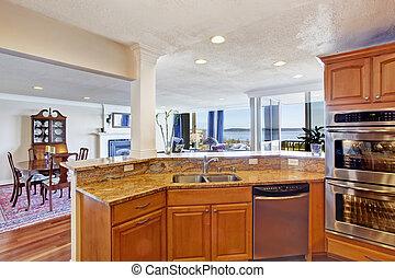 Kitchen room interior in modern apartment