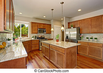 Kitchen room interior with hardwood floor and granite counter top