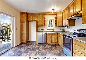 Kitchen room interior with walkout deck