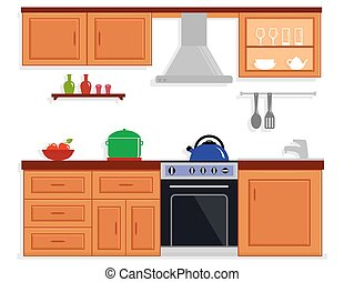 kitchen room isolated furnishing interior
