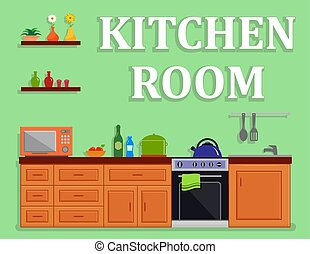 kitchen room isolated interior