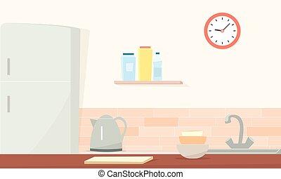 Kitchen room. Simple cartoon image