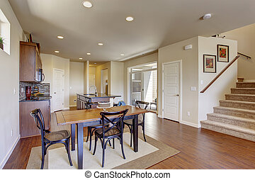 Kitchen room with dining area and walkout deck