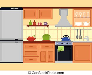 kitchen room with furniture set