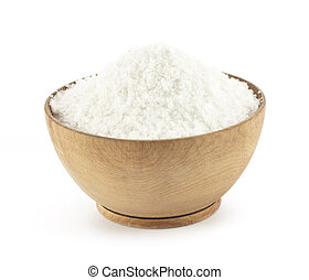 kitchen salt in a wooden saucer on a white background