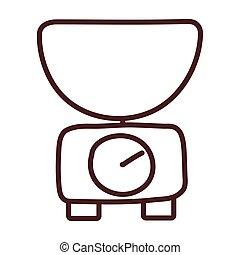 kitchen scale, line style icon vector illustration design