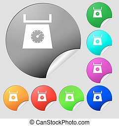 kitchen scales icon sign. Set of eight multi colored round buttons, stickers. Vector