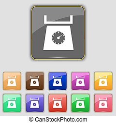 kitchen scales icon sign. Set with eleven colored buttons for your site. Vector