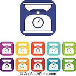 Kitchen scales icons set