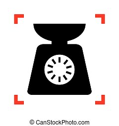 Kitchen scales sign. Black icon in focus corners on white backgr