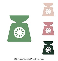 Kitchen scales sign. Russian green icon with small jungle ...