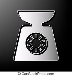 Kitchen scales sign. Vector. Gray 3d printed icon on black background.