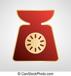Kitchen scales sign. Vector. Red icon on gold sticker at light gray background.