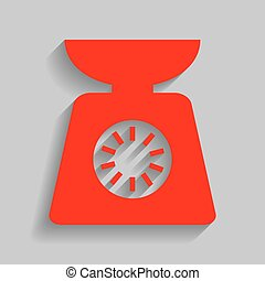 Kitchen scales sign. Vector. Red icon with soft shadow on gray background.