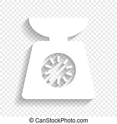 Kitchen scales sign. Vector. White icon with soft shadow on transparent background.
