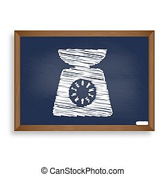 Kitchen scales sign. White chalk icon on blue school board with