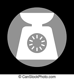 Kitchen scales sign. White icon in gray circle at black backgrou