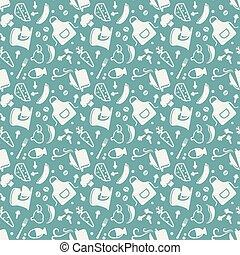 Kitchen seamless pattern. Vector background.