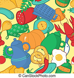 Kitchen seamless pattern, vector illustration in cartoon style