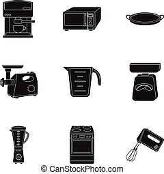 Kitchen set icons in black style. Big collection of kitchen...