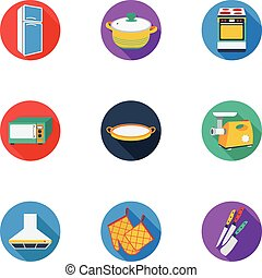 Kitchen set icons in cartoon style. Big collection of...