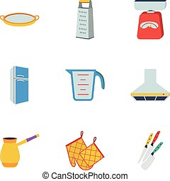 Kitchen set icons in flat style. Big collection of kitchen...