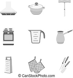 Kitchen set icons in monochrome style. Big collection of...
