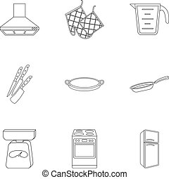 Kitchen set icons in outline style. Big collection of...