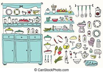 Kitchen set in vector. Design elements of kitchen. Kitchenware.