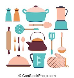 kitchen set isolated on white, vector illustration